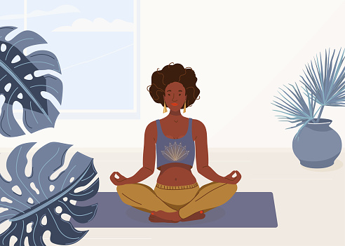 Black woman yoga at home vector background illustration. African young girl sitting in yoga lotus pose. Happy relaxed black female character performing meditation exercise
