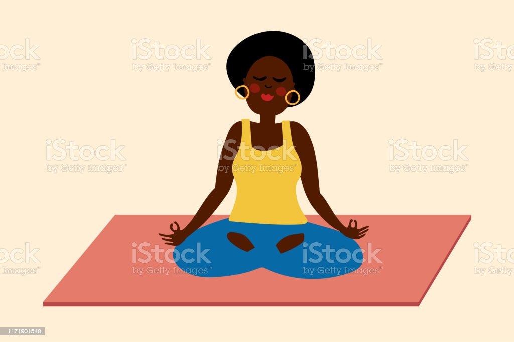 Black woman yoga meditation illustration - Royalty-free Adult stock vector