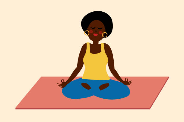 Black woman yoga meditation illustration vector art illustration