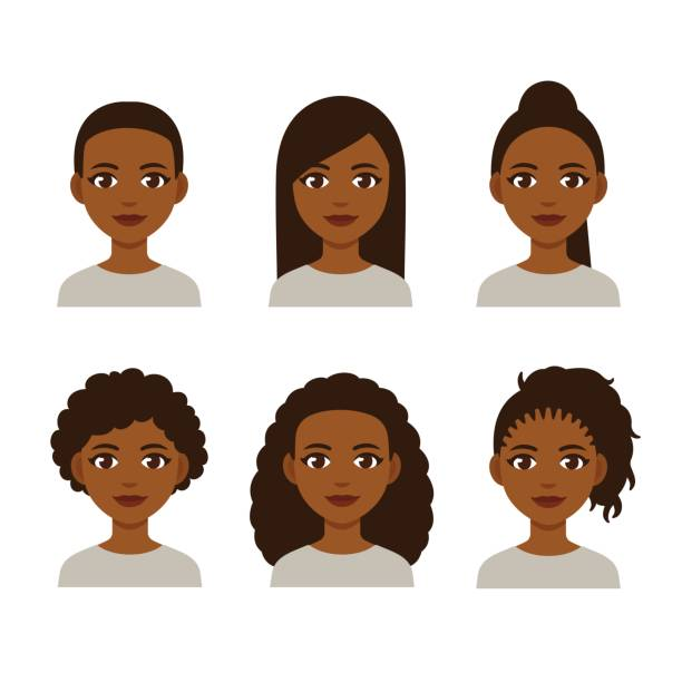 ilustraciones, imágenes clip art, dibujos animados e iconos de stock de peinados de las mujeres negras - cabello negro