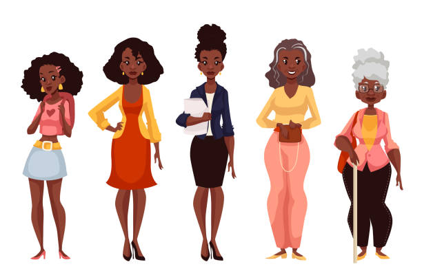 Black women of different ages from youth to maturity vector art illustration
