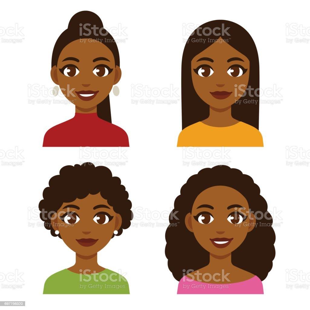 Black women set vector art illustration