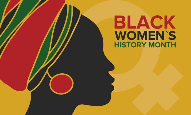 black women's history month obchodzony w kwietniu. międzynarodowe święto na cześć osiągnięć czarnych kobiet z korzeniami w afryce przeszłości, przyszłości i teraźniejszości. czarna sylwetka kobiety - black history month stock illustrations