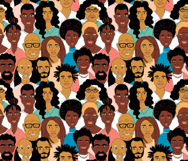 Black Women's men's head portraits line drawing doodle poster seamless pattern Young, middle age, senior adult women's men's head seamless pattern background. Diversity black african afro american crowd group of people. Hand drawn line drawing doodle vector illustration poster african american ethnicity stock illustrations