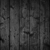 istock Black wood texture with realistic natural structure. Blank board composed from clean planks. Empty background in square size format. 1247878885