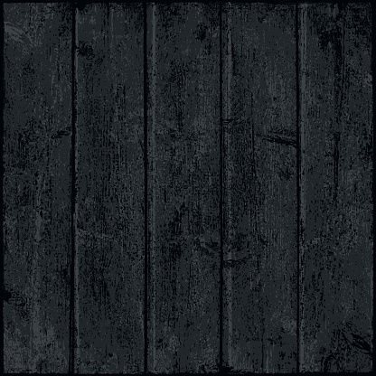 Black wood texture with realistic natural structure. Blank grayscale board composed from clean planks. Empty dark background in square size format.