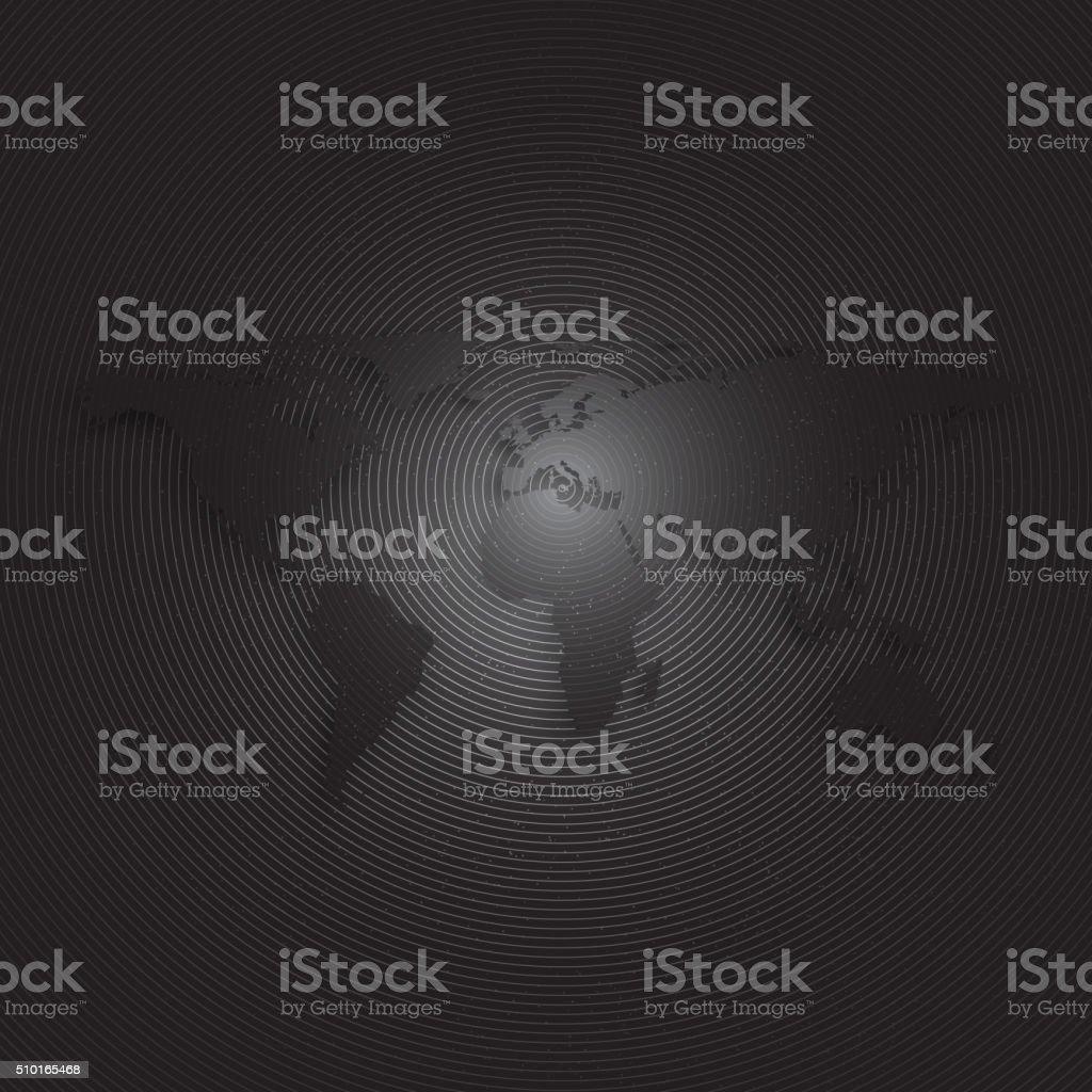 Black World Map On Dark Background Textured Design Vector