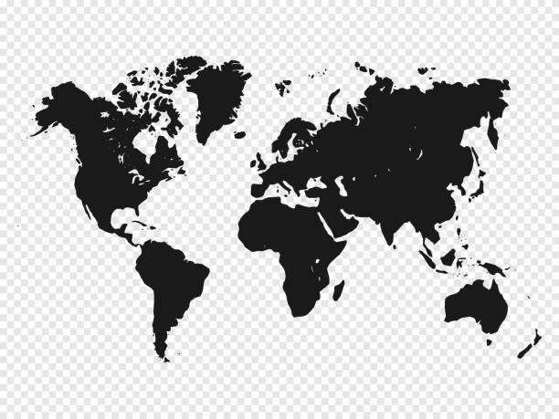 black world map silhouette on transparent background. vector illustration - world map stock illustrations, clip art, cartoons, & icons