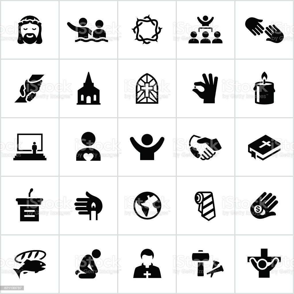 Black Worship Icons vector art illustration