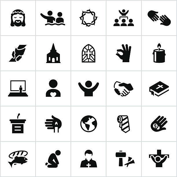 black worship icons - baptism stock illustrations, clip art, cartoons, & icons