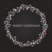White and red hand drawn floral wreath on black background with Merry Christmas text. Eps10. Contains transparent and blending mode objects.