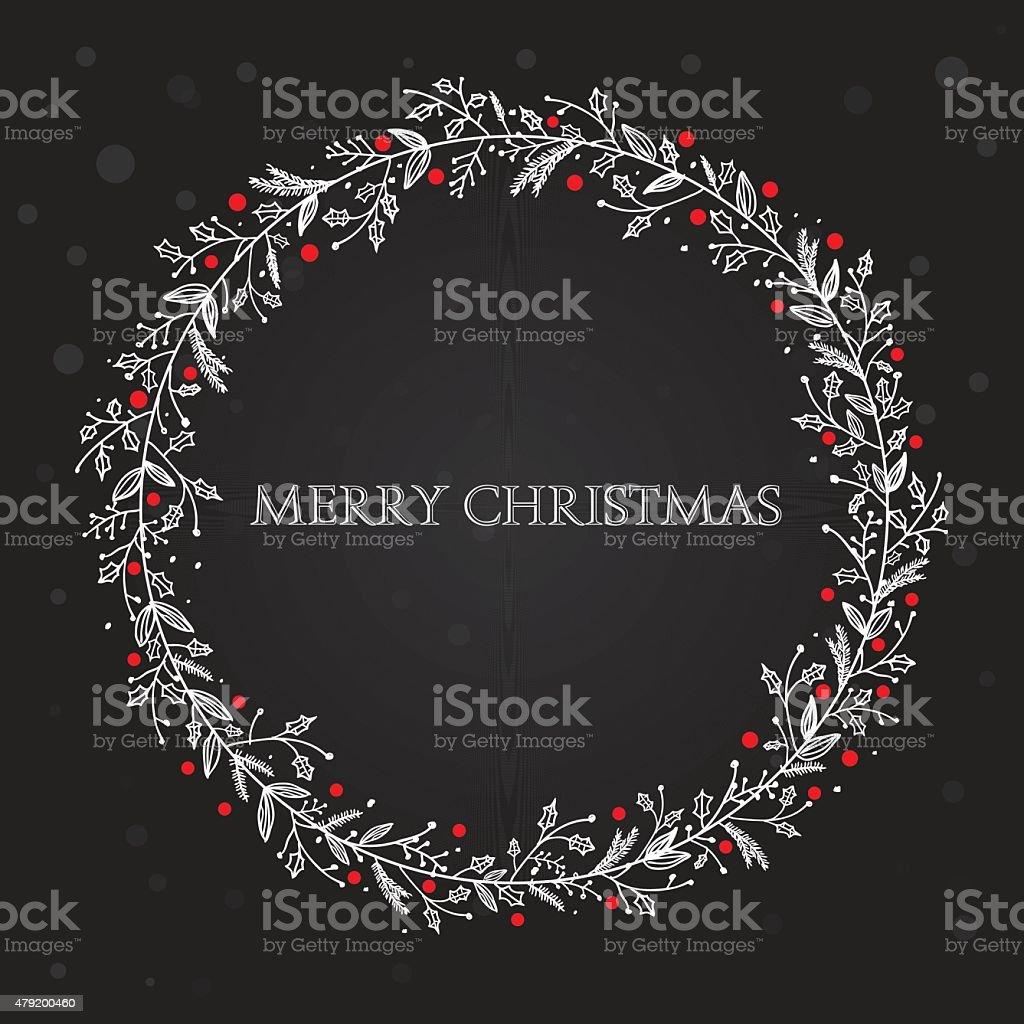 Black xmas wreath vector art illustration
