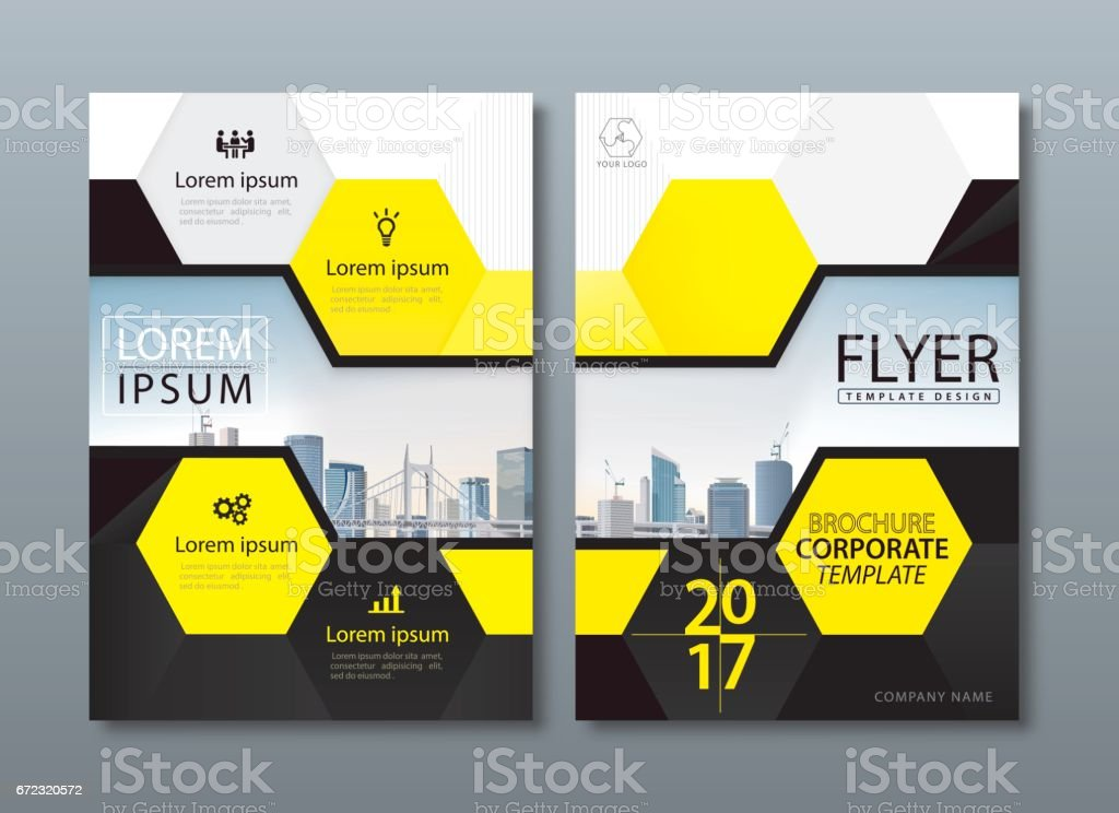 Yellow Book Cover Design : Black yellow annual report brochure flyer design leaflet