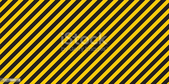 Black yellow stripes wall. Hazard industrial striped road warning. Yellow black diagonal stripes. Caution background. Coronavirus covid - 19. Seamless pattern Vector illustration.