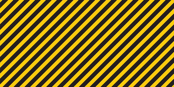 Black yellow stripes wall. Hazard industrial striped road warning. Yellow black diagonal stripes. Caution background. Coronavirus covid - 19. Seamless pattern Vector illustration.