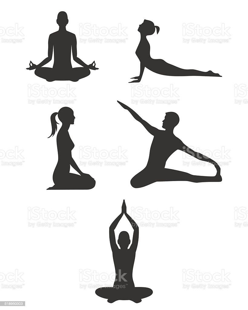 Black yoga silhouettes vector art illustration