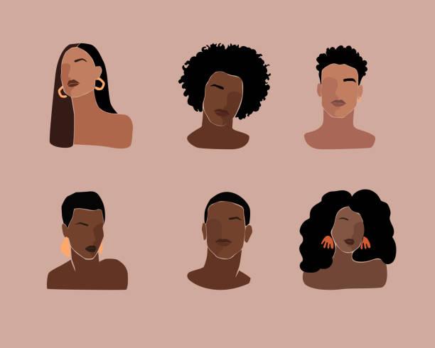 stockillustraties, clipart, cartoons en iconen met zwarte jonge mooie vrouwen en mensenportretten met verschillend kapsel. - curly brown hair