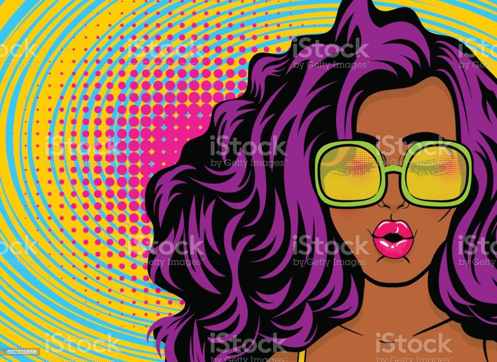 Black young swag woman pop art style vector art illustration