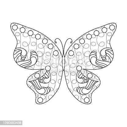 Black-and-white butterfly outline. Anti-stress coloring. Hand-drawn isolated fantasy decorative insect. Vector illustration for coloring pages