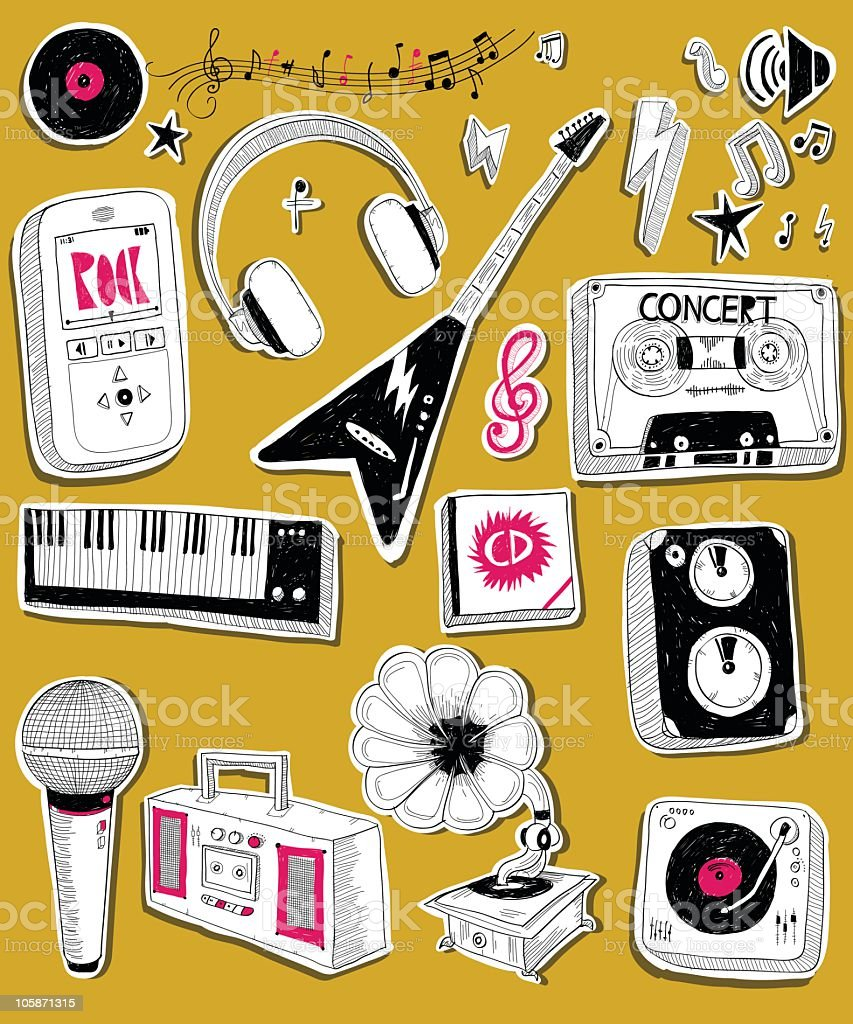 Black-and-white drawings of musical instruments and players royalty-free stock vector art