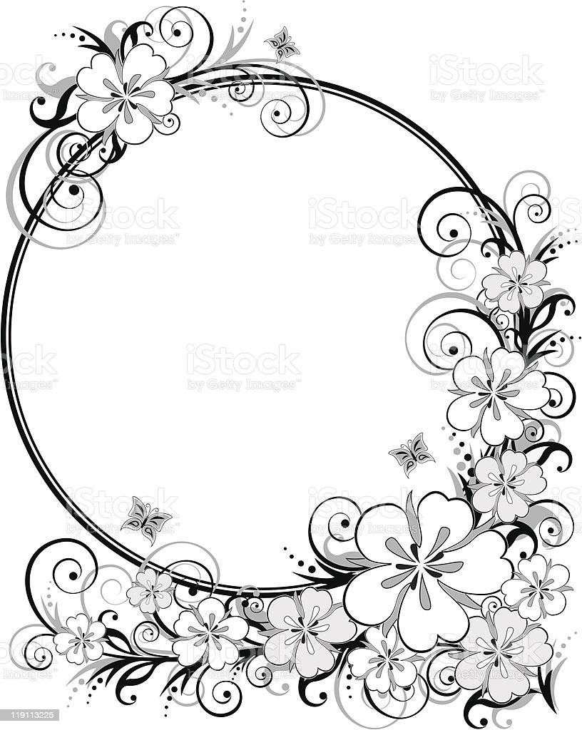 Blackandwhite Floral Frame Stock Vector Art More Images Of