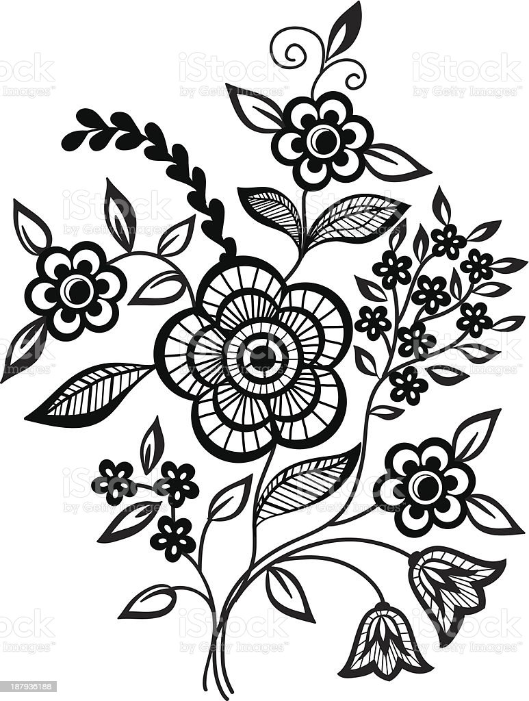 Blackandwhite Flowers And Leaves Design Element Stock Vector Art
