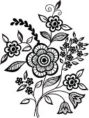 Black-and-white flowers and leaves design element
