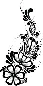 Black-and-white flowers and leaves design element.