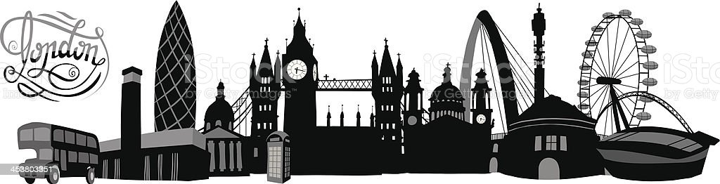 Black And White Illustrated London Skyline Royalty Free Blackandwhite Stock