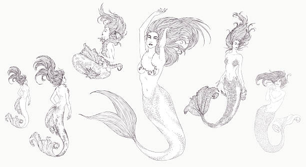 Black-and-white ink Sketch of mermaids. vector art illustration