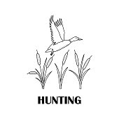 Black-and-white logo for hunters with a duck and a cane.
