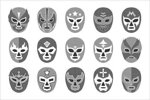 Black-and-white lucha libre mask for wrestling fight show