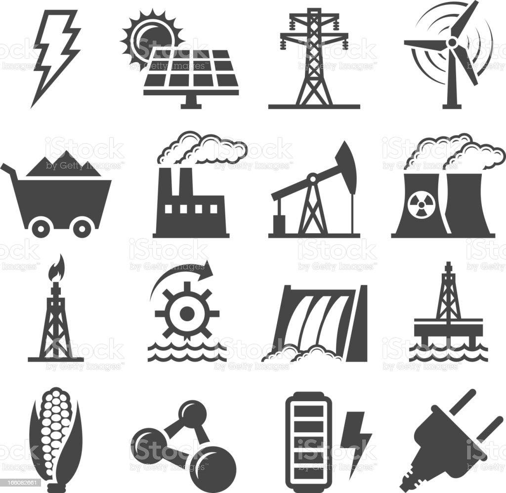 Black-and-white set of alternative energy icons vector art illustration