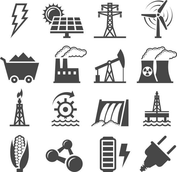 schwarz/weiß set icons alternativer energie - solaranlage stock-grafiken, -clipart, -cartoons und -symbole