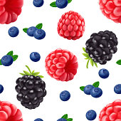 Blackberry blueberry and raspberry seamless pattern. 3d realistic vector berries.