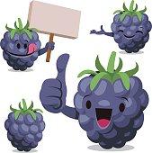 Cartoon blackberry set including: