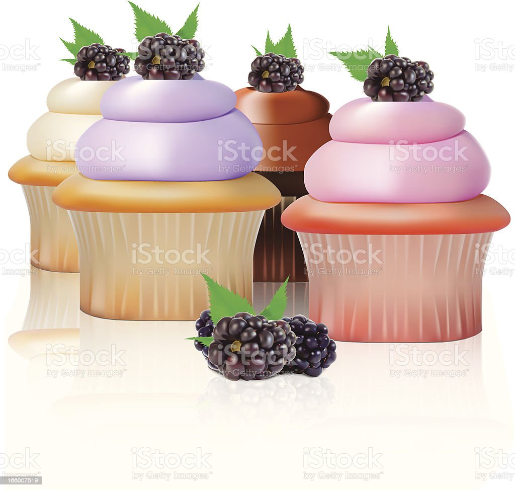 Blackberry Cupcake - Vector Illustration royalty-free blackberry cupcake vector illustration stock vector art & more images of baked
