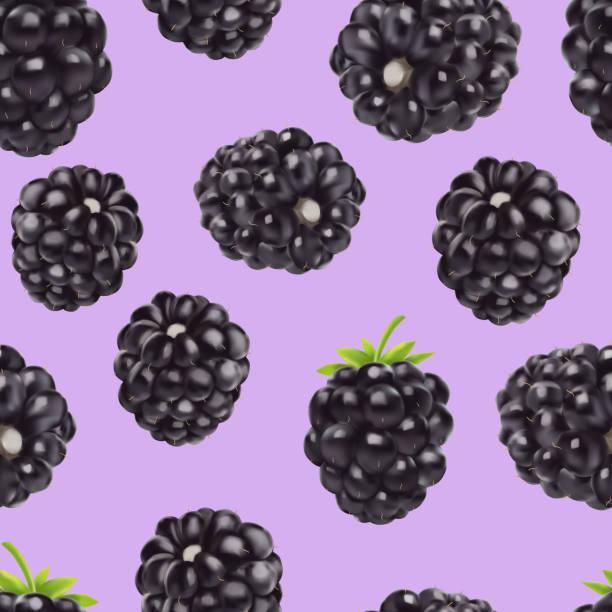 Blackberry seamless pattern. 3d realistic vector berries. Blackberry seamless pattern. 3d realistic vector berries. Food background. blackberry fruit stock illustrations