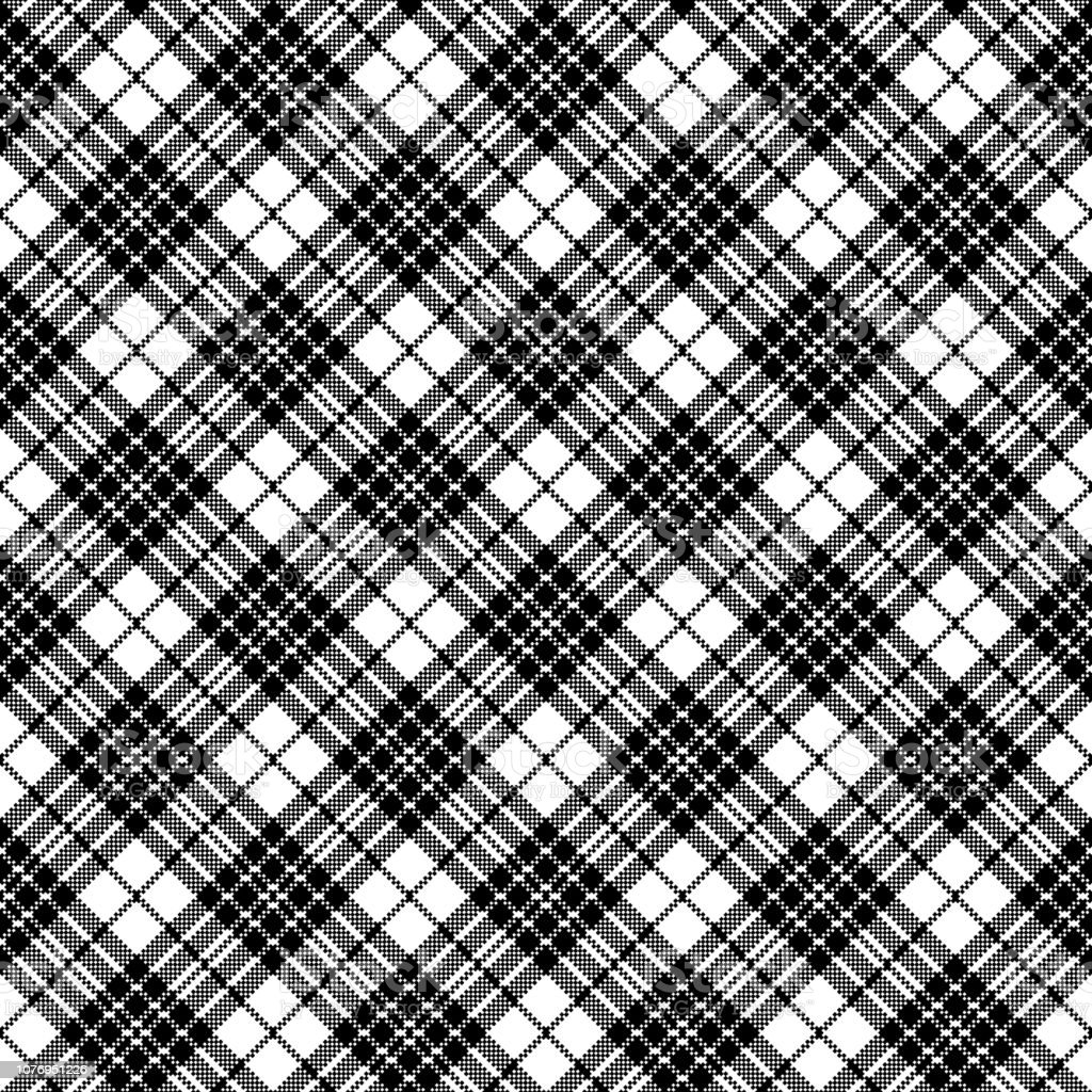 Blackberry Tartan Clan Black White Pixel Seamless Pattern