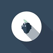 The vector file of blackberry icon with long shadow.