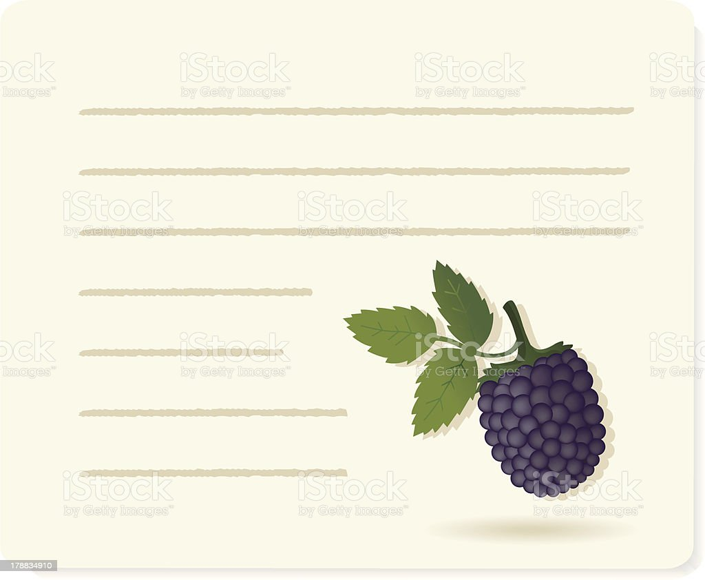 blackberry with recipepaper. royalty-free blackberry with recipepaper stock vector art & more images of autumn