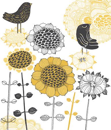 Blackbirds and sunflowers
