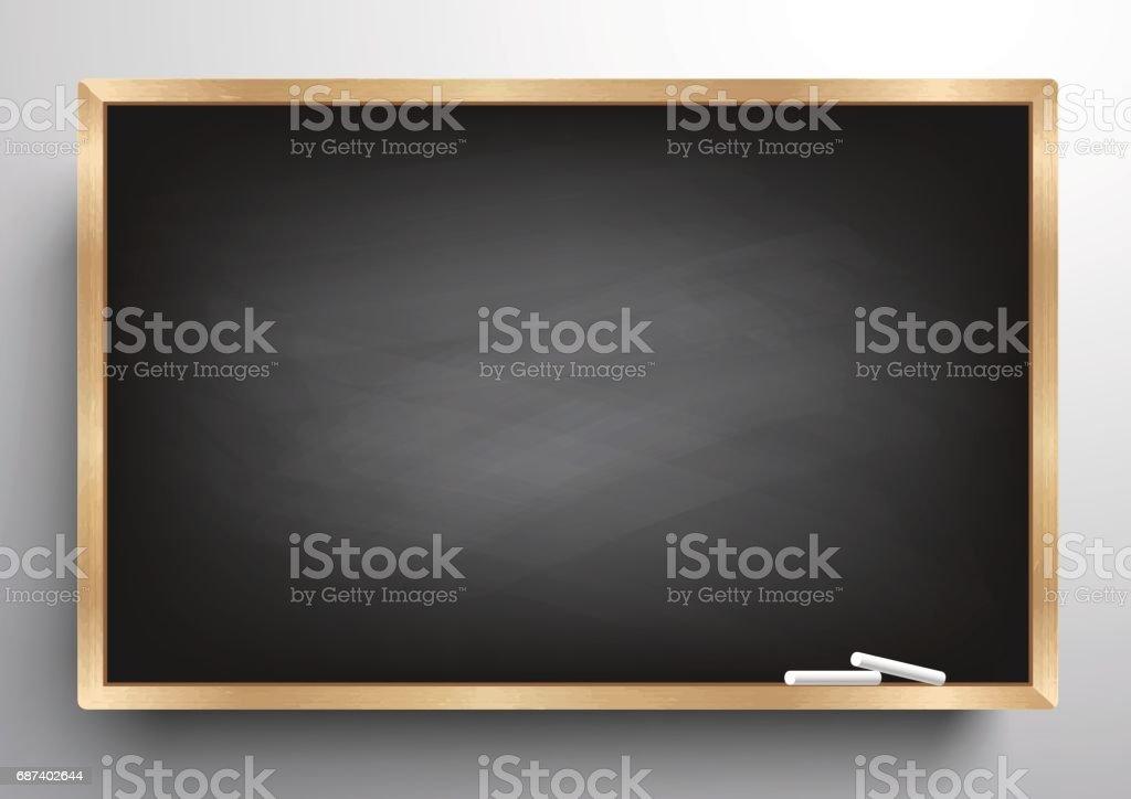 Raspou o frame de madeira do fundo quadro-negro, quadro-negro sujo, ilustração vetorial - ilustração de arte em vetor