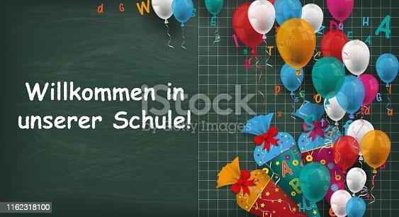 istock Blackboard Balloons Candy Cones Willkommen Schule 1162318100