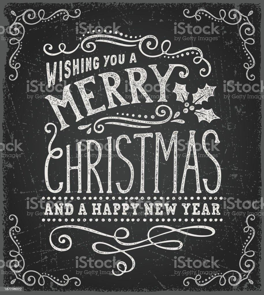 Blackboard Christmas Card vector art illustration