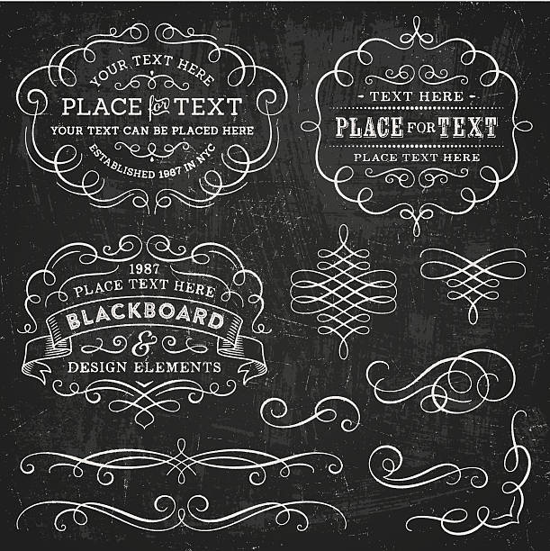 blackboard design elements - dekoratif stock illustrations, clip art, cartoons, & icons