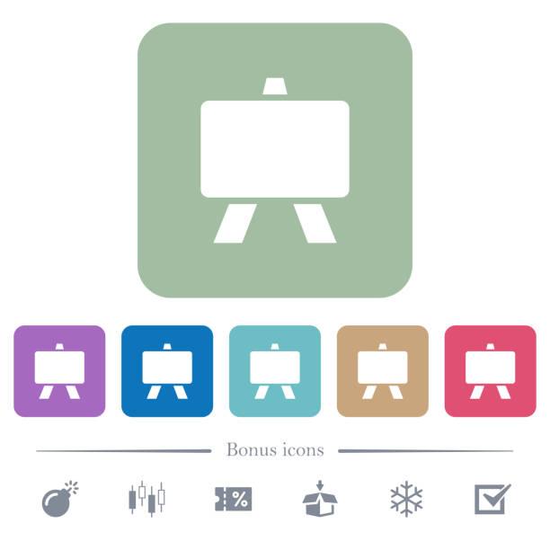 blackboard flache symbole auf farbe abgerundete quadratische hintergründe - flipchart stock-grafiken, -clipart, -cartoons und -symbole