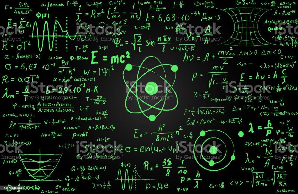 Tafel Mit Wissenschaftlichen Formeln Und Berechnungen In Der Physik Und Mathematik Eingeschrieben Wissenschaftliche Themen Gebunden Quantenmechanik
