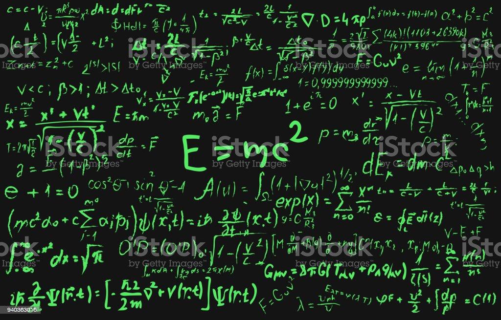 Blackboard Inscribed With Scientific Formulas And Calculations In