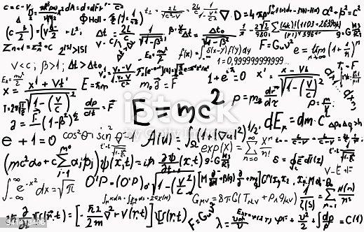 Schoolbord Gegraveerd Met Wetenschappelijke Formules En